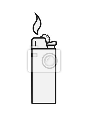 Fototapete Icon of gas or petrol lighter. Simple design