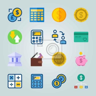 Fototapete Icon über Währung Eingestellt. Mit Dollar Euro, Diagramm Und Geld
