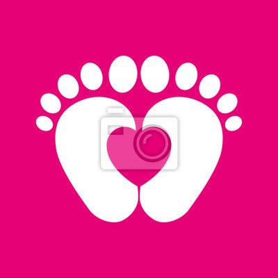 Icono Plano Pies De Bebé Con Corazón En Fondo Rosa Fototapete