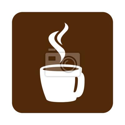 Icono Plano Taza Café Caliente Vista Trasera Und Cuadrado Marron