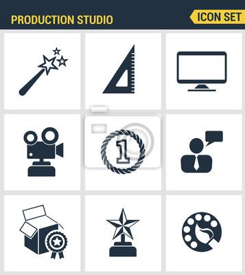 Icons gesetzt Premium-Qualität der Content-Produktion Studio, Lösung projiziert. Moderne Piktogrammsammlung flache Design-Stil. Isoliert weißen Hintergrund