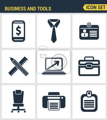 Icons gesetzt Premium-Qualität der grundlegenden Geschäft wesentliche Werkzeuge, Büroausstattung. Moderne Piktogrammsammlung flache Design-Stil. Isoliert weißen Hintergrund