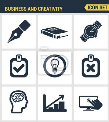 Icons gesetzt Premium-Qualität der kreative Business Development Prozess, moderne Büro-Workflow-und Kreativität-Lösung. Moderne Piktogrammsammlung flache Design-Stil. Isoliert weißen Hintergrund
