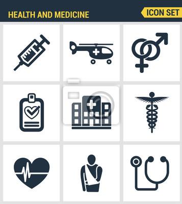 Icons gesetzt Premium-Qualität der medizinischen Fachleute und medizinische Geräte. Moderne Piktogramme Sammlung flachen Design-Stil Symbol-Sammlung. Isoliert weißen Hintergrund.