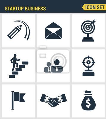 Icons gesetzt Premium-Qualität der Start-up-Geschäft und die Einführung neuer Produkte auf dem Markt. Moderne Piktogramme Sammlung flachen Design-Stil Symbol-Sammlung. Isoliert weißen Hintergrund.