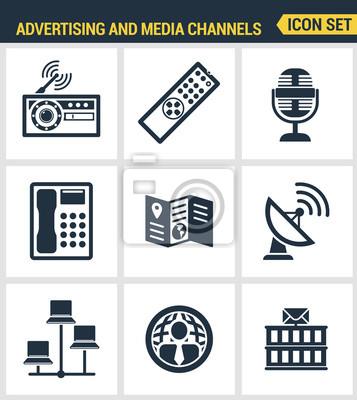Icons gesetzt Premium-Qualität der Werbemittel Kanäle und Anzeigenverteilung. Moderne Piktogrammsammlung flache Design-Stil. Isoliert weißen Hintergrund