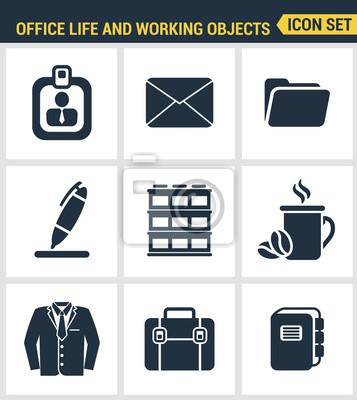 Icons gesetzt Premium-Qualität von Business-Elemente, Office-Tools, Arbeitsobjekte und Management-Elemente. Moderne Piktogrammsammlung flache Design-Stil. Isoliert weißen Hintergrund