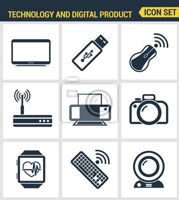 Icons gesetzt Premium-Qualität von Computer-Technologie und Elektronik-Geräte, Mobiltelefon-Kommunikation und digitale Produkt. Moderne Piktogrammsammlung flache Design-Stil. Isoliert weißen Hintergru