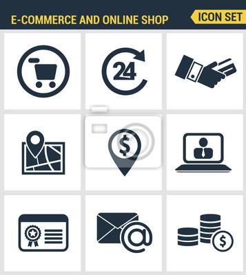Icons gesetzt Premium-Qualität von E-Commerce-Shopping-Symbol, Online-Shop-Elemente und Commerce-Element, Internet-Shop-Produkt. Moderne Piktogrammsammlung flache Design-Stil. Isoliert weißen Hintergr