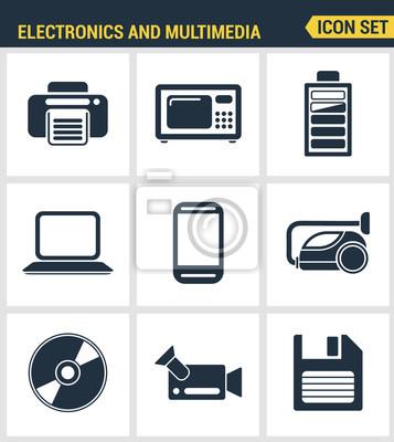 Icons gesetzt Premium-Qualität von Heim-Elektronik und persönlichen Multimedia-Geräte. Moderne Piktogrammsammlung flache Design-Stil. Isoliert weißen Hintergrund