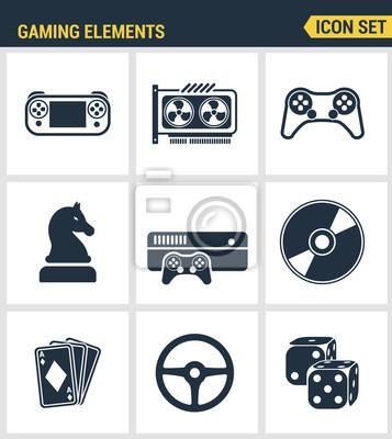 Icons gesetzt Premium-Qualität von klassischen Spiel-Objekte, mobile Gaming-Elemente. Moderne Piktogramme Sammlung flachen Design-Stil Symbol-Sammlung. Isoliert weißen Hintergrund.