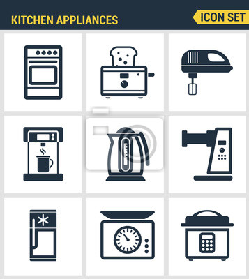 Icons gesetzt Premium-Qualität von Küchenutensilien, Haushaltsgeräte und Geschirr. Moderne Piktogramme Sammlung flachen Design-Stil Symbol-Sammlung. Isoliert weißen Hintergrund