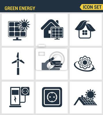 Icons gesetzt Premium-Qualität von umweltfreundlichen grünen Energie, saubere Energiequellen. Moderne Piktogramme Sammlung flachen Design-Stil Symbol-Sammlung. Isoliert weißen Hintergrund.