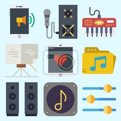 Icons über musik mit noten, ansager, smartphone, lautsprecher ...
