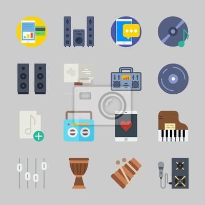 Icons über musik mit soundsystem, klavier, smartphone, xylophon ...
