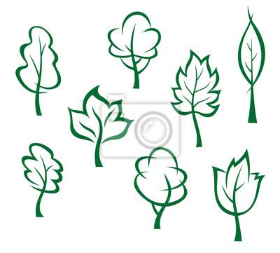 Icons und Symbole der grünen Bäumen