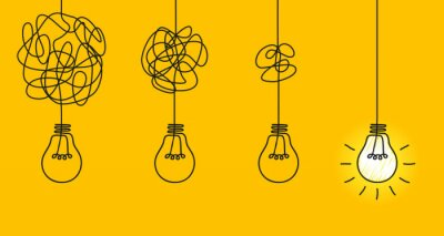 Fototapete Idea concept, creative of simplifying complex process lightbulb, bulb sign, innovations, untangled of problem. Keep it simple business concept for project management, marketing, creativity