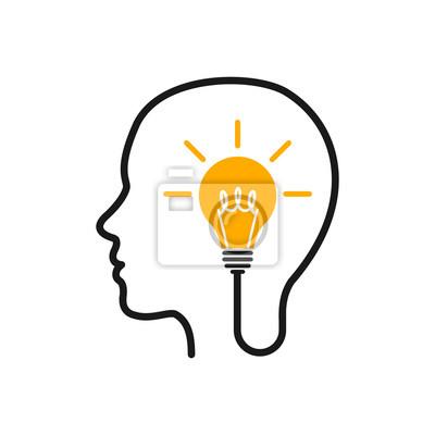 Fototapete Idea, creative concept with head and bulb - stock vector