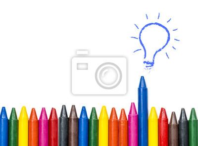 Fototapete Idee Kann Die Verschiedenen Konzept, Bunte Öl Pastell Buntstifte  Und Glühbirne Idee Auf Weißem