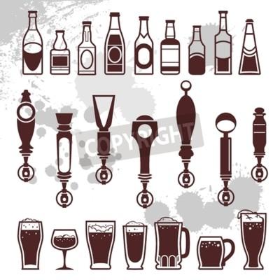 Fototapete Ikonen der Flaschen Getränke und Bierhähne