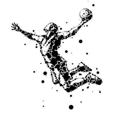 Fototapete Illustration der abstrakten Basketballspieler im Sprung