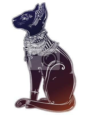 Fototapete Illustration Der ägyptischen Katzengöttin Bastet