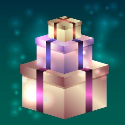 Illustration Der Glanzenden Geschenk Boxen Fur Geburtstag