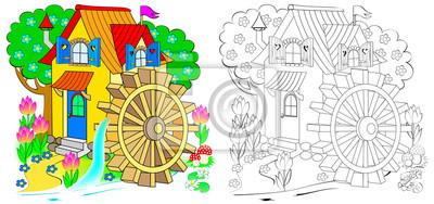 Illustration Der Märchenlandspielzeug Wassermühle Buntes Und