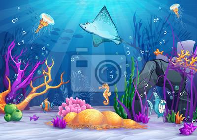 Illustration der Unterwasserwelt mit Fischen Rampe.