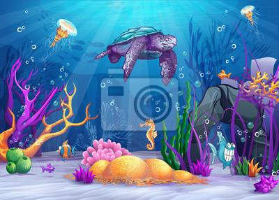 Illustration der Unterwasserwelt mit Fischen und Schildkröten.