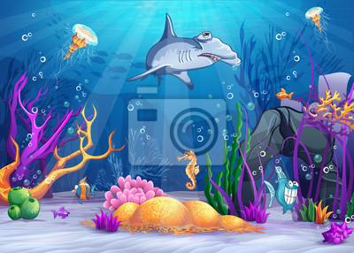Illustration der Unterwasserwelt mit Hammerhai.