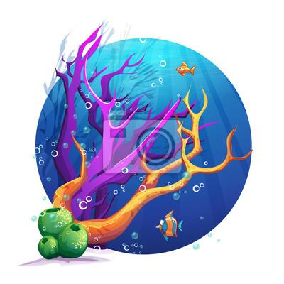 Illustration der Unterwasserwelt mit Korallen und Fischen Spaß.
