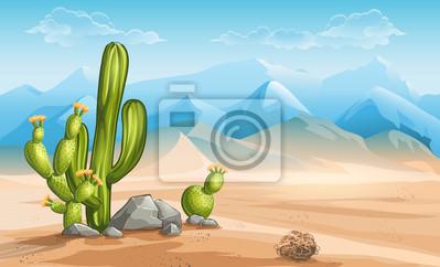 Illustration der Wüste mit Kakteen auf einem Hintergrund von Bergen