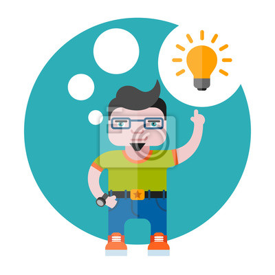 Illustration des Designers mit einer Glühbirne