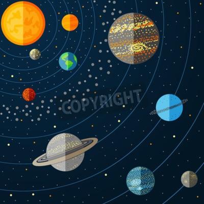 Fototapete Illustration des Sonnensystems mit Planeten. Abbildung
