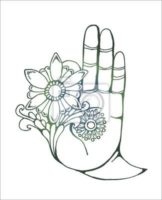 illustration einer buddha hand die eine blume h lt farbenfrohes fototapete fototapeten mudra. Black Bedroom Furniture Sets. Home Design Ideas