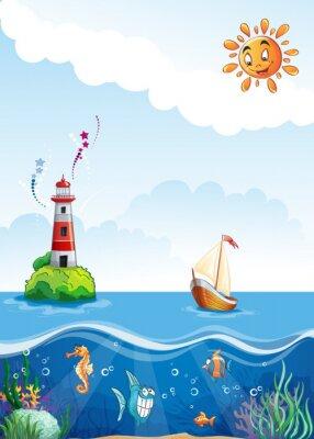 Illustration eines Leuchtturms und der Unterwasserwelt