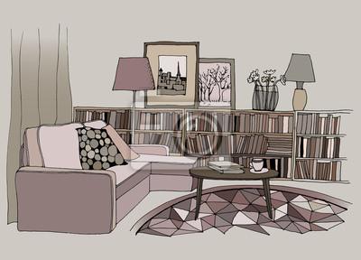 Moderne Lampen 53 : Illustration eines modernen wohnzimmer innenraum mit einem sofa