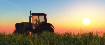 Fototapete Illustration eines Traktors im Umlauf