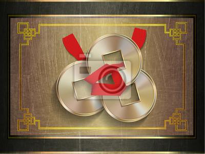 Illustration Feng Shui Münzen Glück Liebe Glück Wohlstand