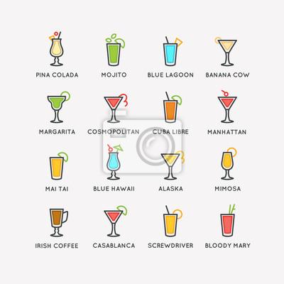 Illustration für bar menü gesetzt alkoholische cocktails. vector ...