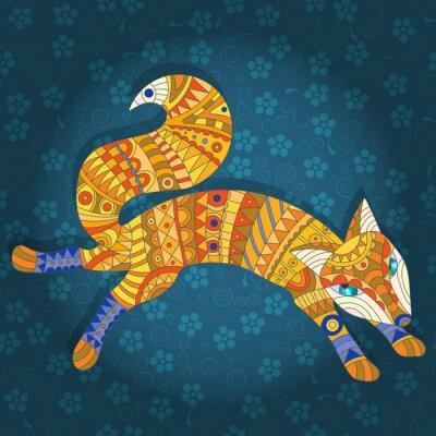Fototapete Illustration in Buntglas-Stil abstrakte Katze und Fische