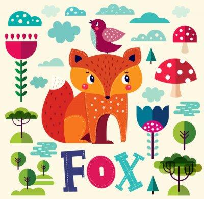 Fototapete Illustration mit Fuchs und anderen Elementen