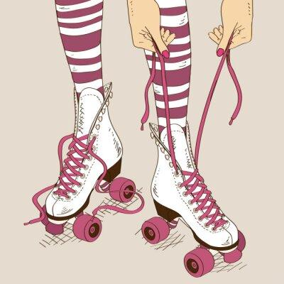 Fototapete Illustration mit weiblichen Beine im Retro-Rollschuhe