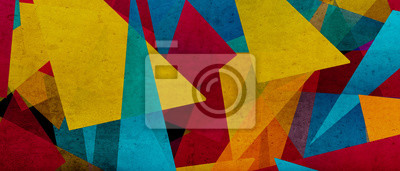 Fototapete illustration of triangles and angled shapes,  colorful abstract background with geometric elements, panoramic image