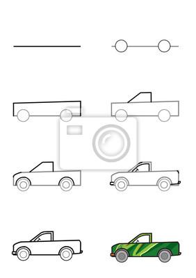 illustration plakat schritt f r schritt zeichnen einen wagen fototapete fototapeten lkw. Black Bedroom Furniture Sets. Home Design Ideas