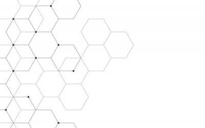 Fototapete Illustration, sechseckigen Hintergrund. Digitale geometrische Abstraktion mit Linien und Punkten. Geometrisches abstraktes Design.