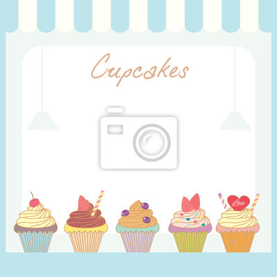 Illustration vektor der cupcakes menü schablone design im café-shop ...