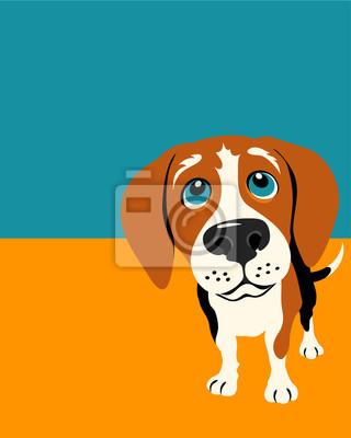Illustration von einem lustigen Beagle