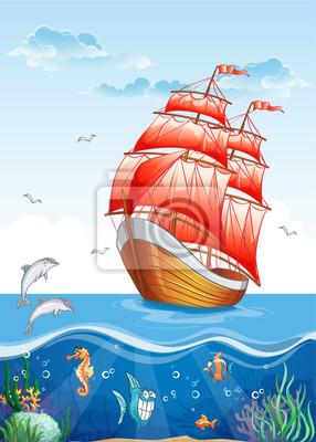 Illustration von einem Segelboot mit roten Segeln.